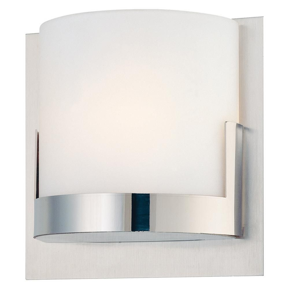 George Kovacs Convex 1 Light Brushed Aluminum Backplate With Chrome Glass Holder Wall Sconce P5952 077 The Hom Sconces Wall Sconce Lighting Modern Bath Light