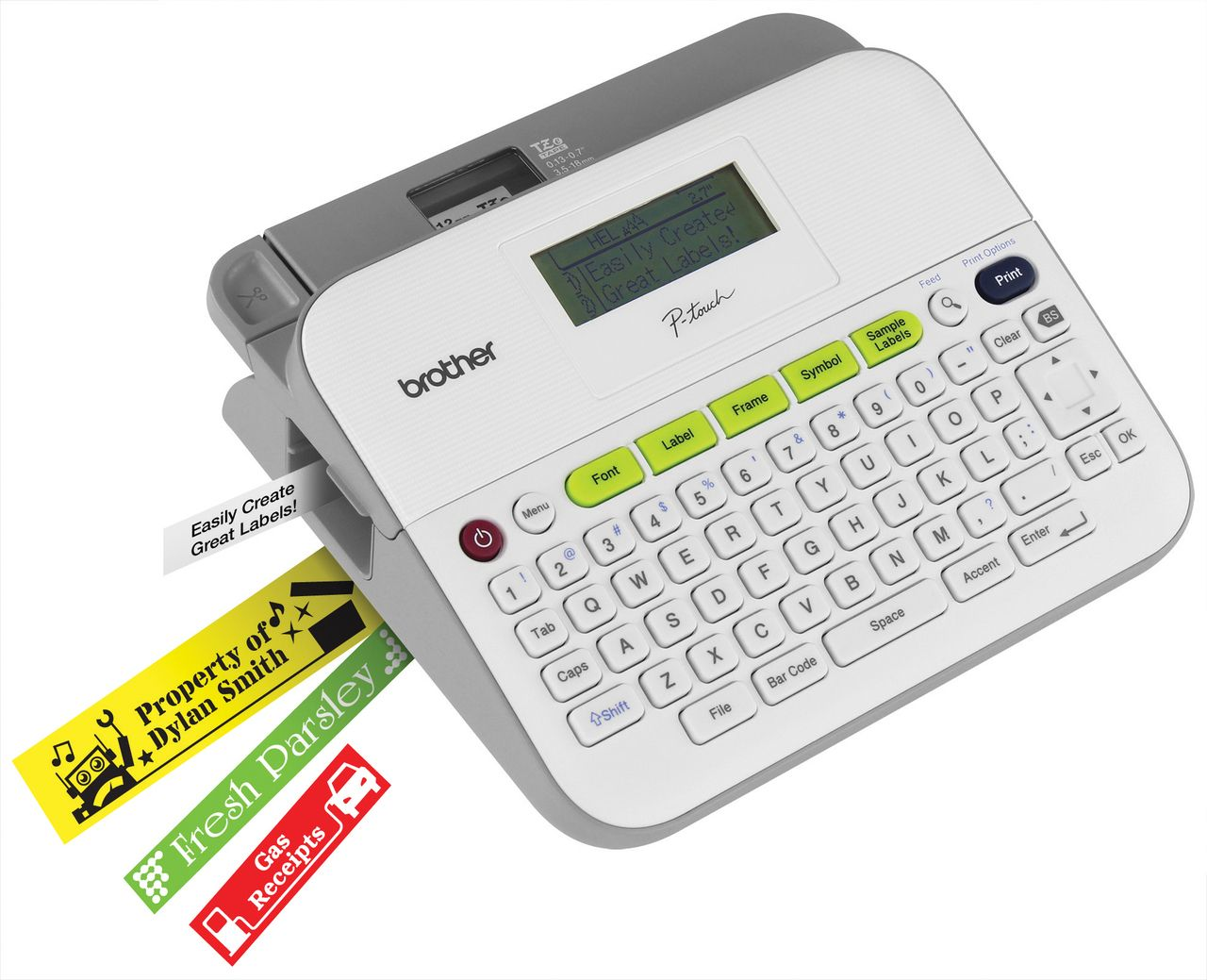 compact label maker uses durable laminated tze label tape with split back for easy application view text and layout before printing at office depot