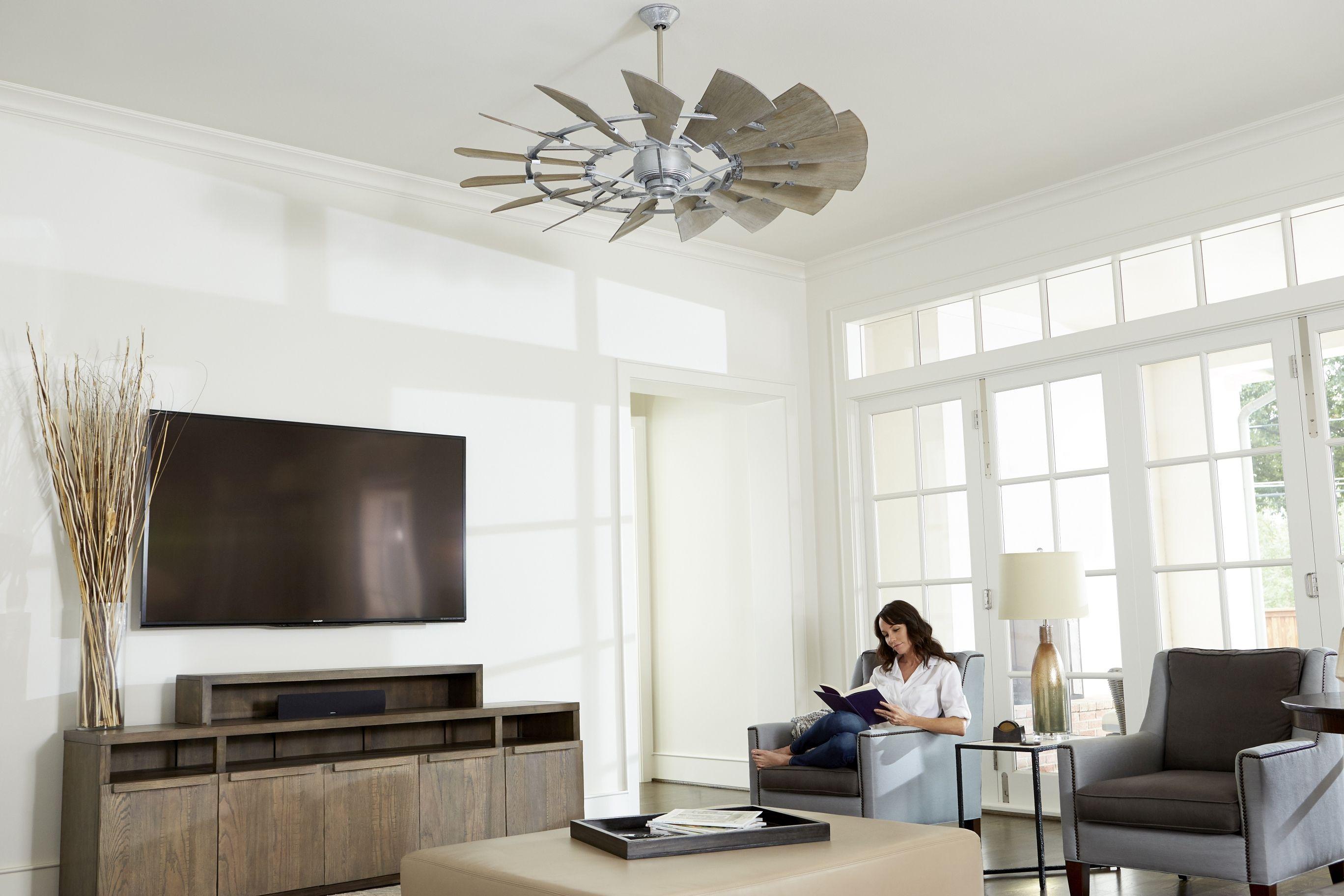 "Quorum Windmill 60"" 15 Blade Indoor Ceiling Fan in Galvanized"