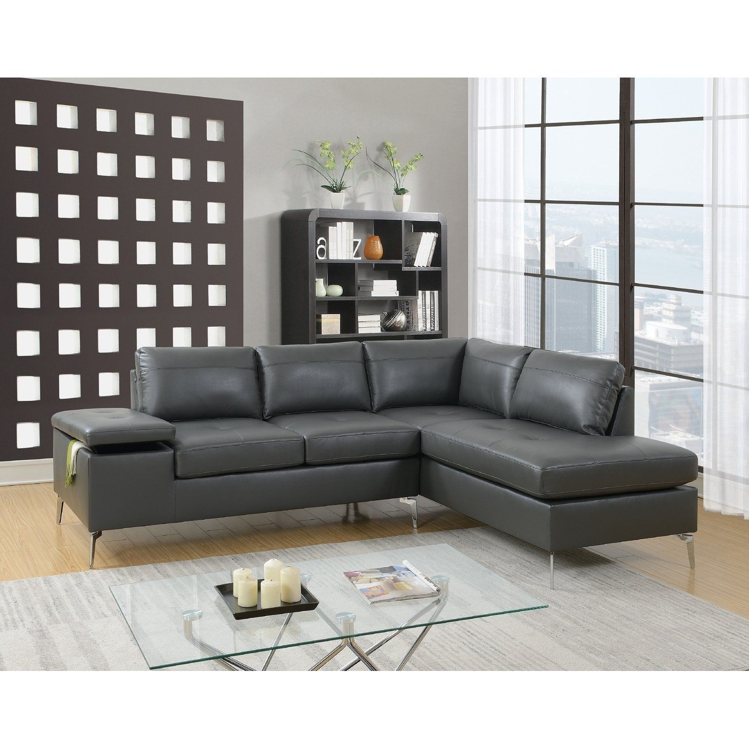 Prime Szymanski Reversible Sectional Gray Grey Faux Leather In Gamerscity Chair Design For Home Gamerscityorg