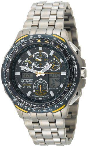 """670c75384e7 Citizen Men s JY0050-55L """"Blue Angels Skyhawk A-T"""" Titanium Eco-Drive Watch"""