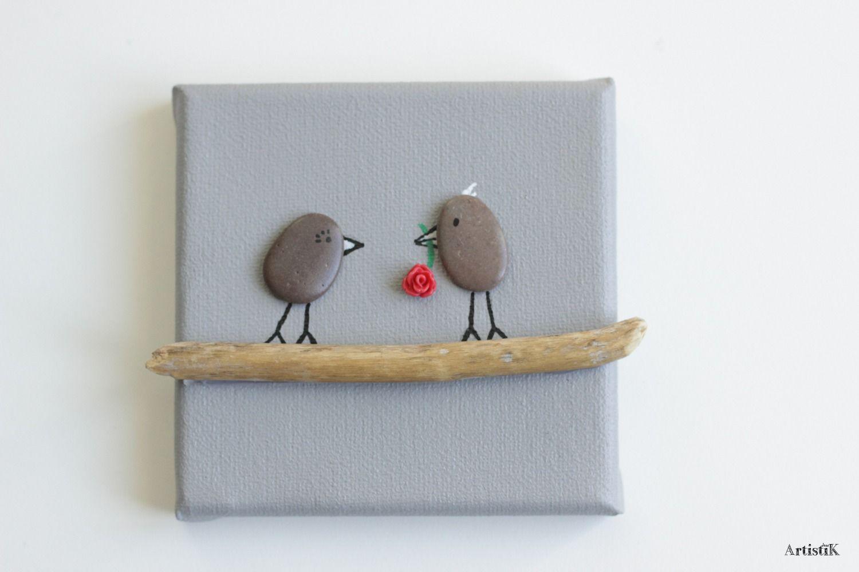 Tableau Galets Oiseaux Bois Flotte Couple Amoureux Fleur Rouge