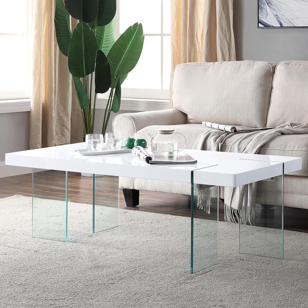 Venetian Worldwide Noland White High Gloss And Glass Coffee Table