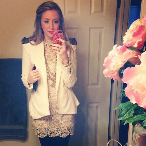 Winter white lace dress and shoulder spikes blazer