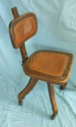 Antique Wood Desk Chair Task Office Antique Adjustable Back Casters Cane  Seat