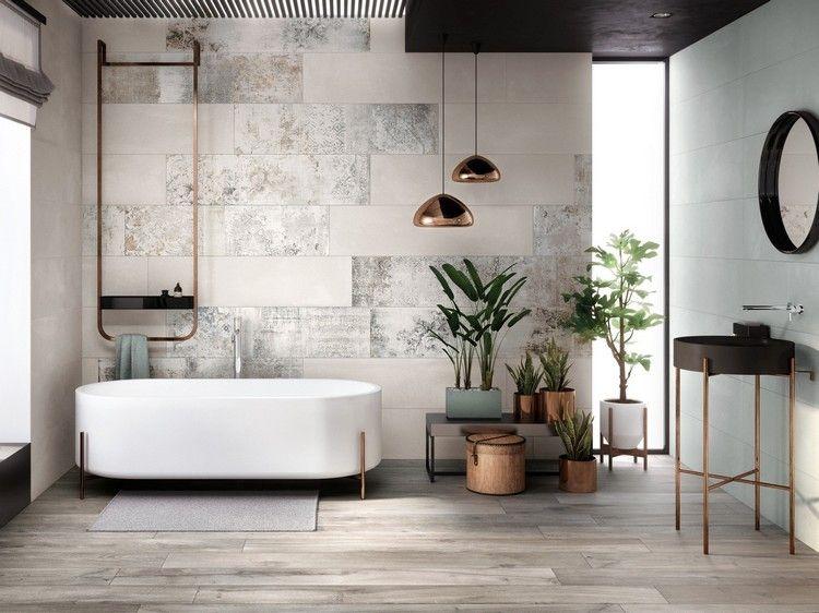 Modernes Bad Mit Origineller Wandgestaltung
