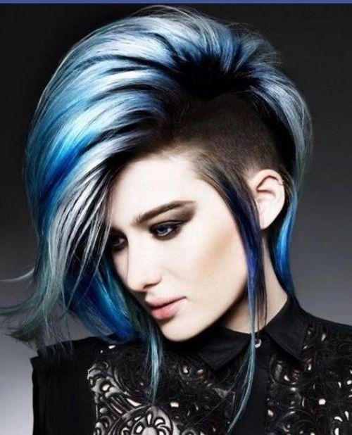Blue Silver Goth Look And Sidecut Short Punk Hair