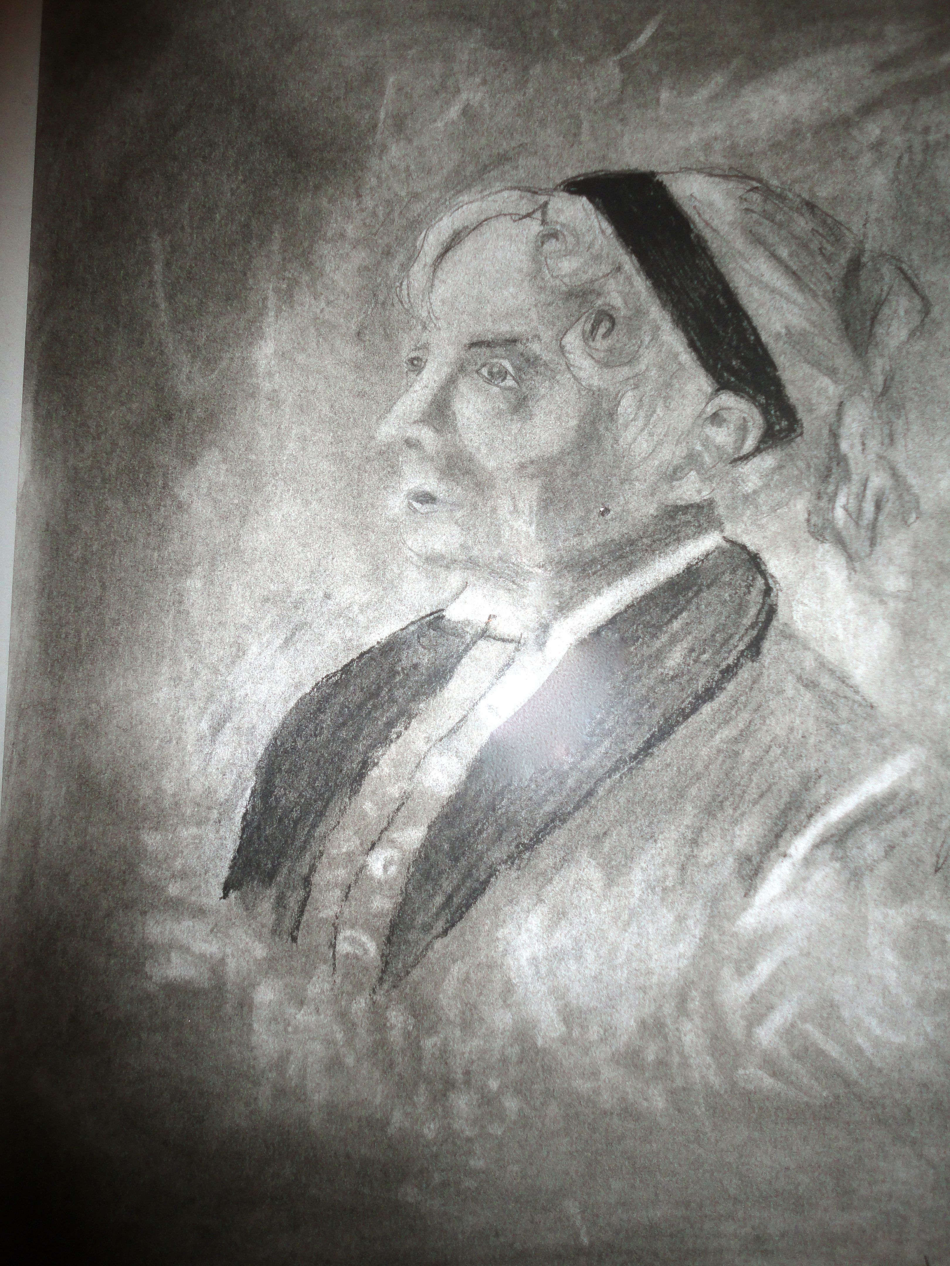 Charcoal Portrait Using Graphite Powder Erasure And Negative Space Concepts To Show Highlight
