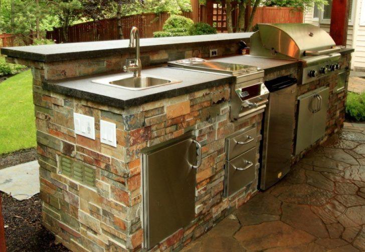 Stone Outdoor Counter Bbq Roaster Pull Down Faucet Top Mount Sink Stainless Steel Cabinet Door Stone Flooring Outdoor Kitchen Island Outdoor Sinks Outdoor Kitchen Countertops