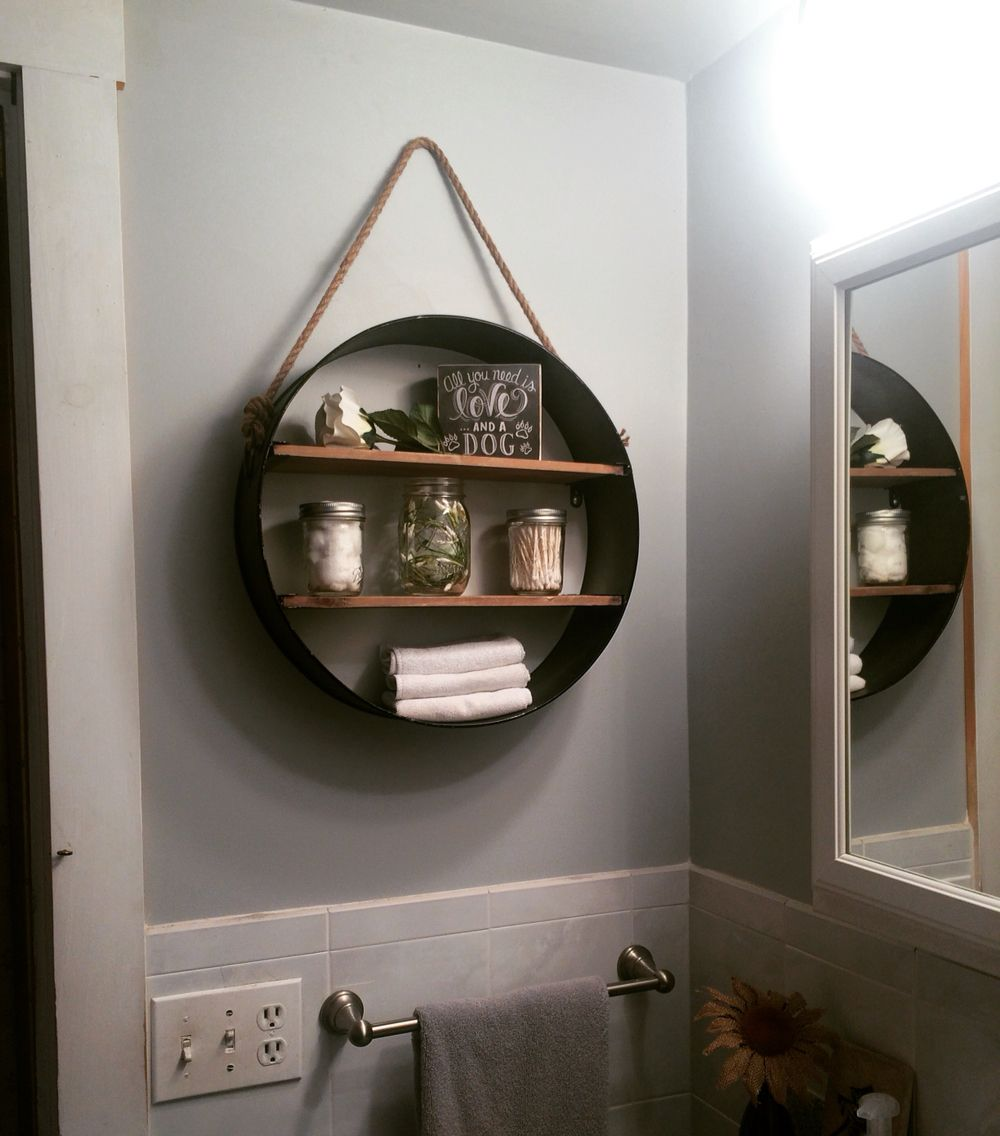Rustic bathroom shelf from hobby lobby in love my for Bathroom hanging decorations