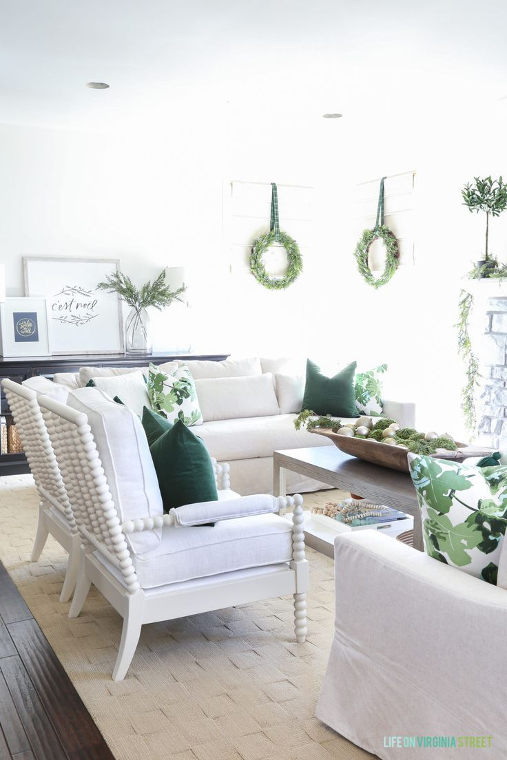 Christmas Home Tour: Green and White Living Room and Dining Room ...