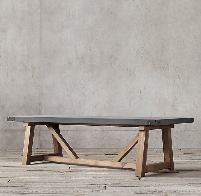 Vedel Industrial Loft Zinc Wood Rectangle Coffee Table: Salvaged Wood & Concrete Beam Rectangular Dining Table