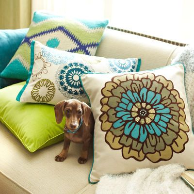 Pillows - green, teal, blue kitchen/living space color palate