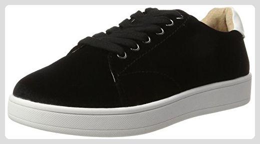 Aisun Damen Fashionable Kunstleder Durchgängiges Plateau Sneakers Schwarz 36 EU dgwWg9XIL9