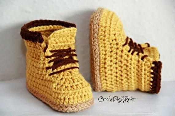 Crochet Timberland boots, combat