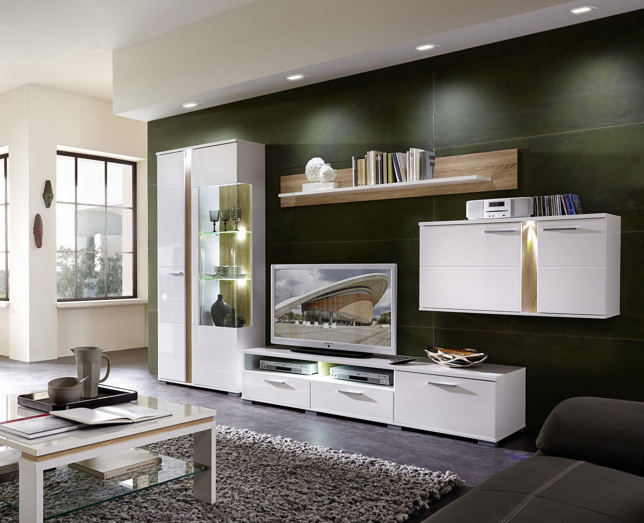 wohnwand weiss hochglanz sonoma eiche hell woody 22 00600. Black Bedroom Furniture Sets. Home Design Ideas
