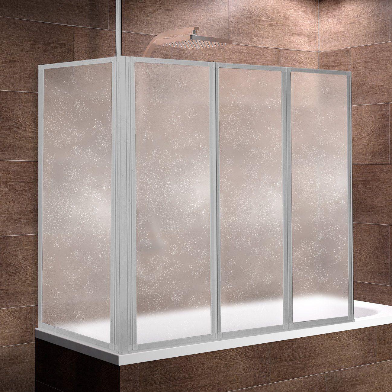 Schulte Duschwand Well Mit Seitenwand 129x140 X 75 Cm 3 Teilig Faltbar Kunstglas Tropfen Dekor Profilfarbe Alu Natur Duschabtrennung Duschwand Seitenwand