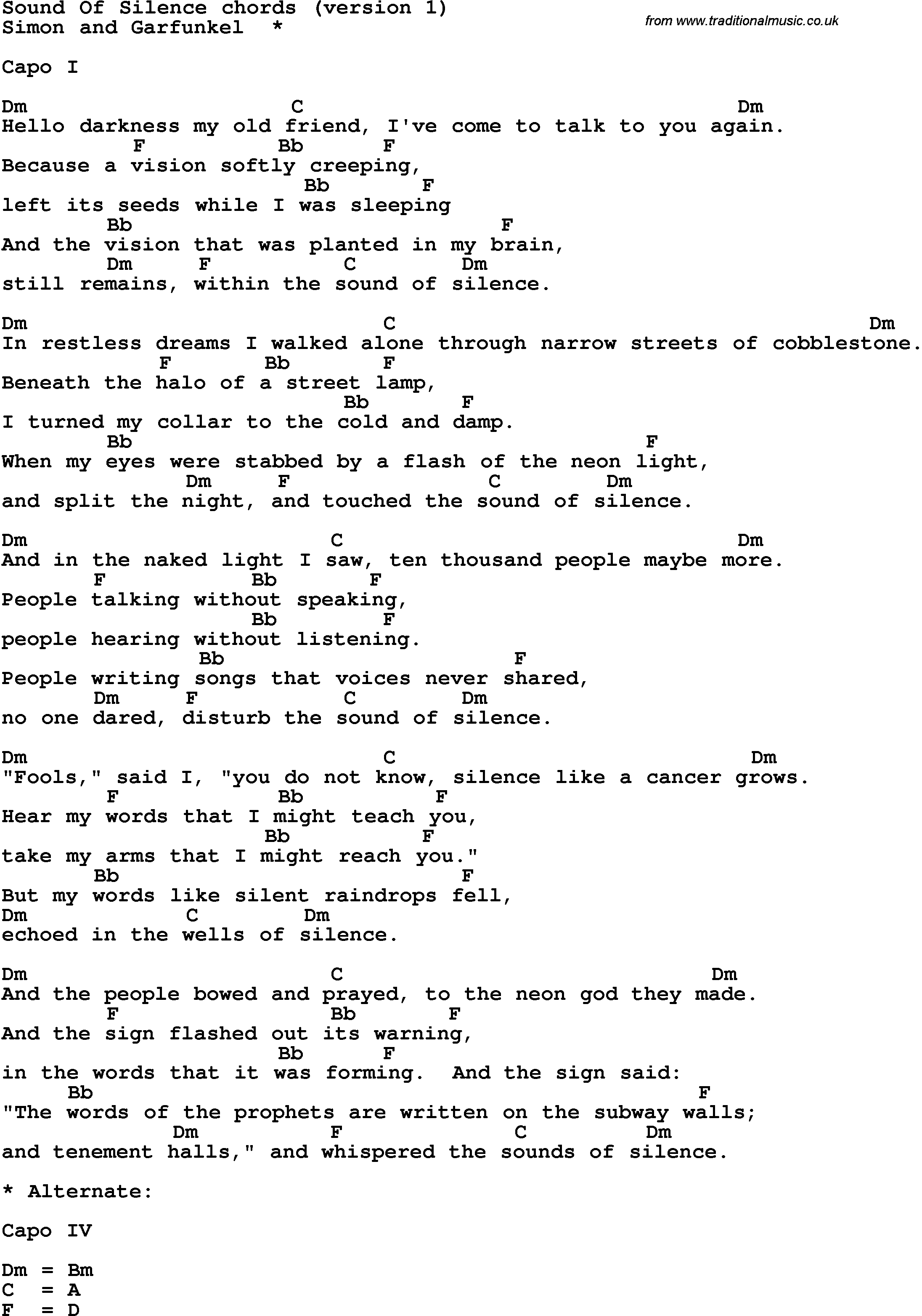 Song Lyrics With Guitar Chords For Sound Of Silence Guitar