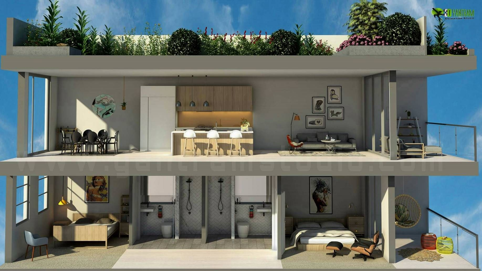 3d Section Floor Plan Cgi Design Animation Architectural Design Studio Floor Plan Design Site Plan Design