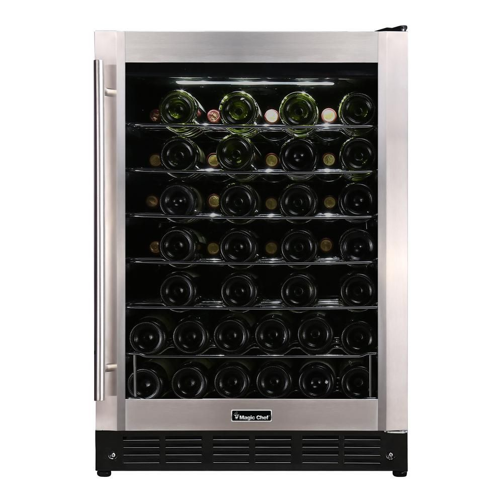 Magic Chef 23.4 in. W 50Bottle Wine Cooler in Stainless