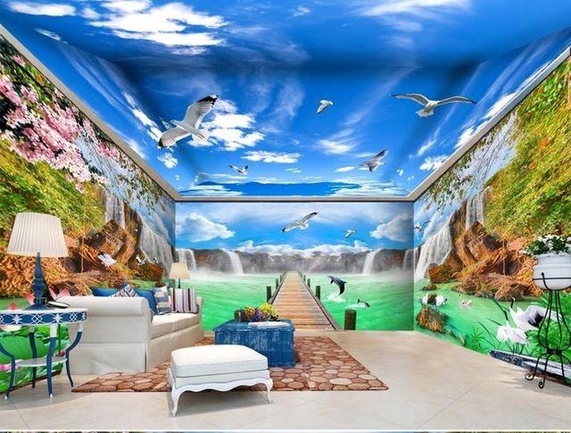 Personnalisé 3d papier peint au plafond Grue falls qui coule décor - peinture pour plafond fissure