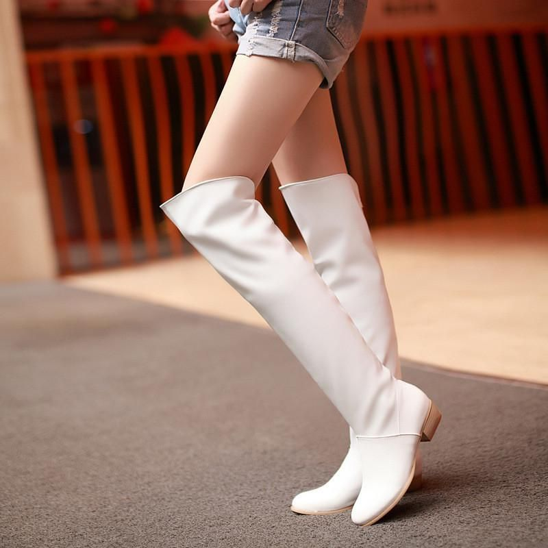 knee high boots | White shoes women