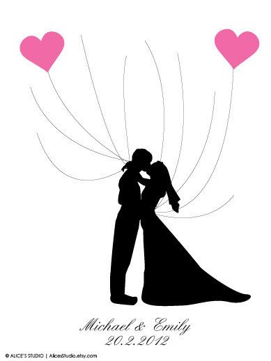 Diy Printable Kissing Wedding Silhouette Guest