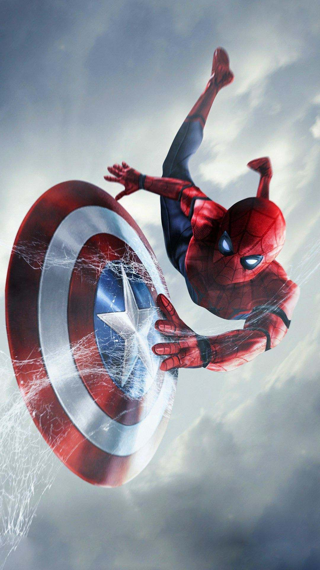 Spider Man Captain America Shield IPhone Wallpaper