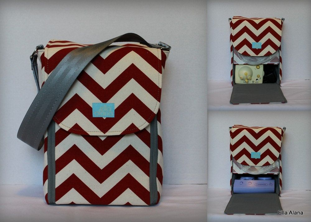 69609057270b1 Love this one! Half size Alana style Breast Pump Bag in Red chevron ...