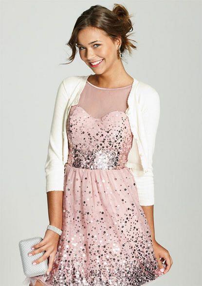 Pink Sparkly Dress \u0026 White Cardigan