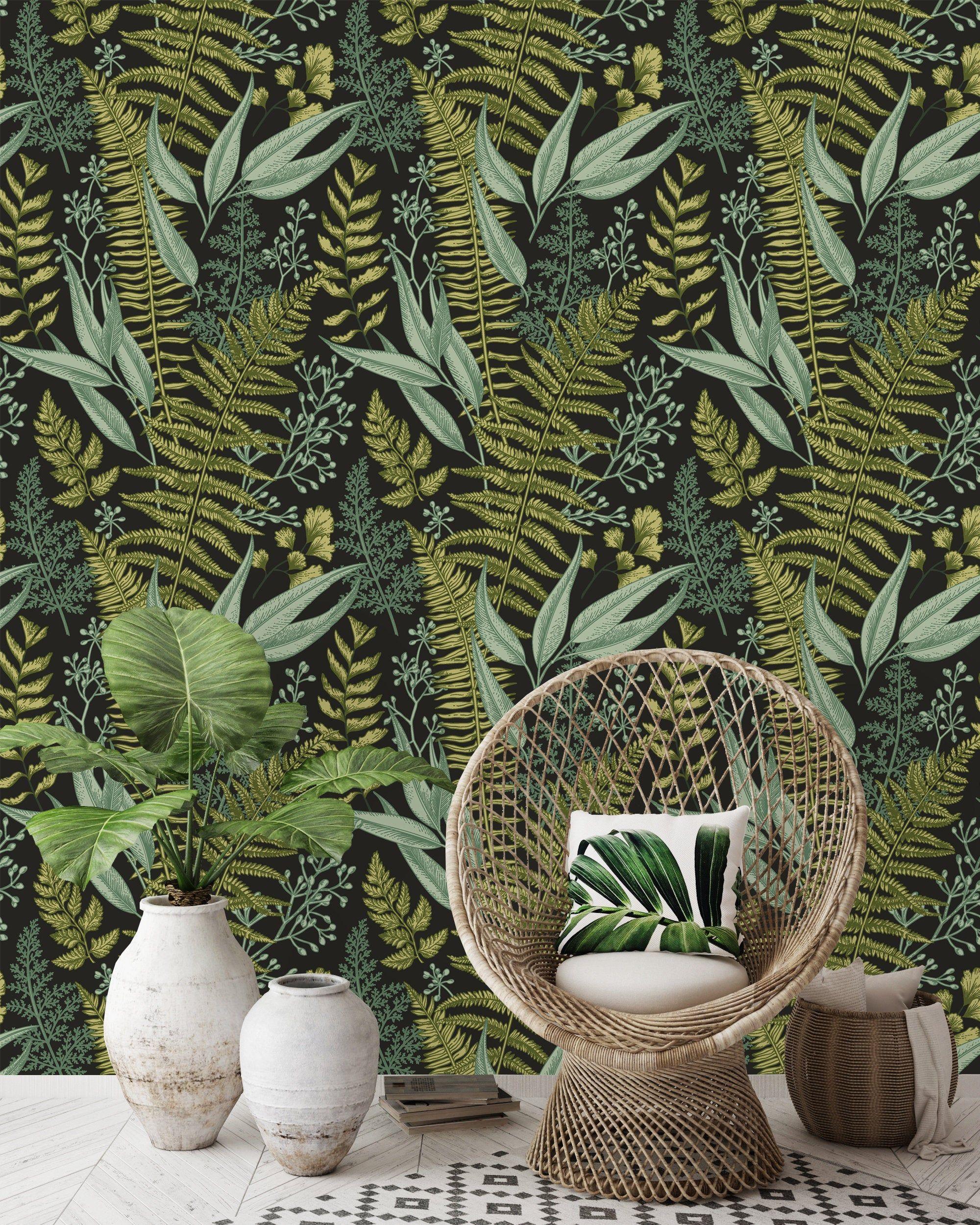 Removable Wallpaper Self Adhesive Wallpaper Dark Ferns Peel Self Adhesive Wallpaper Removable Wallpaper Fern Wallpaper
