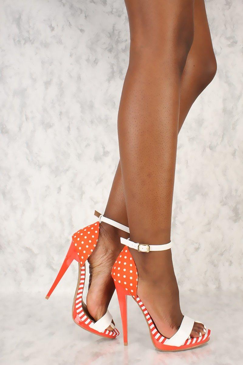 arancia Canvas Striped Polka Dot Open Open Dot Toe Single Sole High Heels   26db61