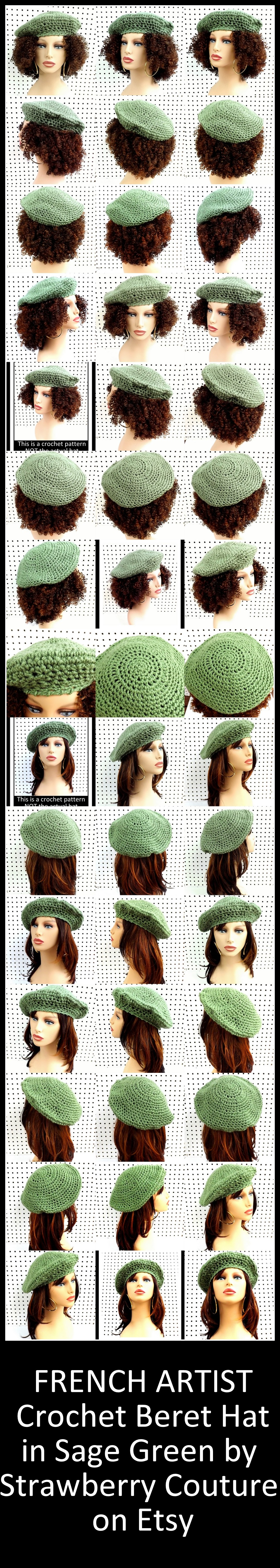 https://www.etsy.com/shop/strawberrycouture/search?search_query=french+artist&order=date_desc&view_type=gallery&ref=shop_search FRENCH ARTIST Crochet Beret Hat in Sage Green $35.00 and Pattern $5.00 by StrawberryCouture on Etsy #berethat #crochethat #crochetpattern #berethat #berethatpattern #hatpattern #beretpattern #etsy #etsyshop #etsygifts #shopping #DIY #crafts