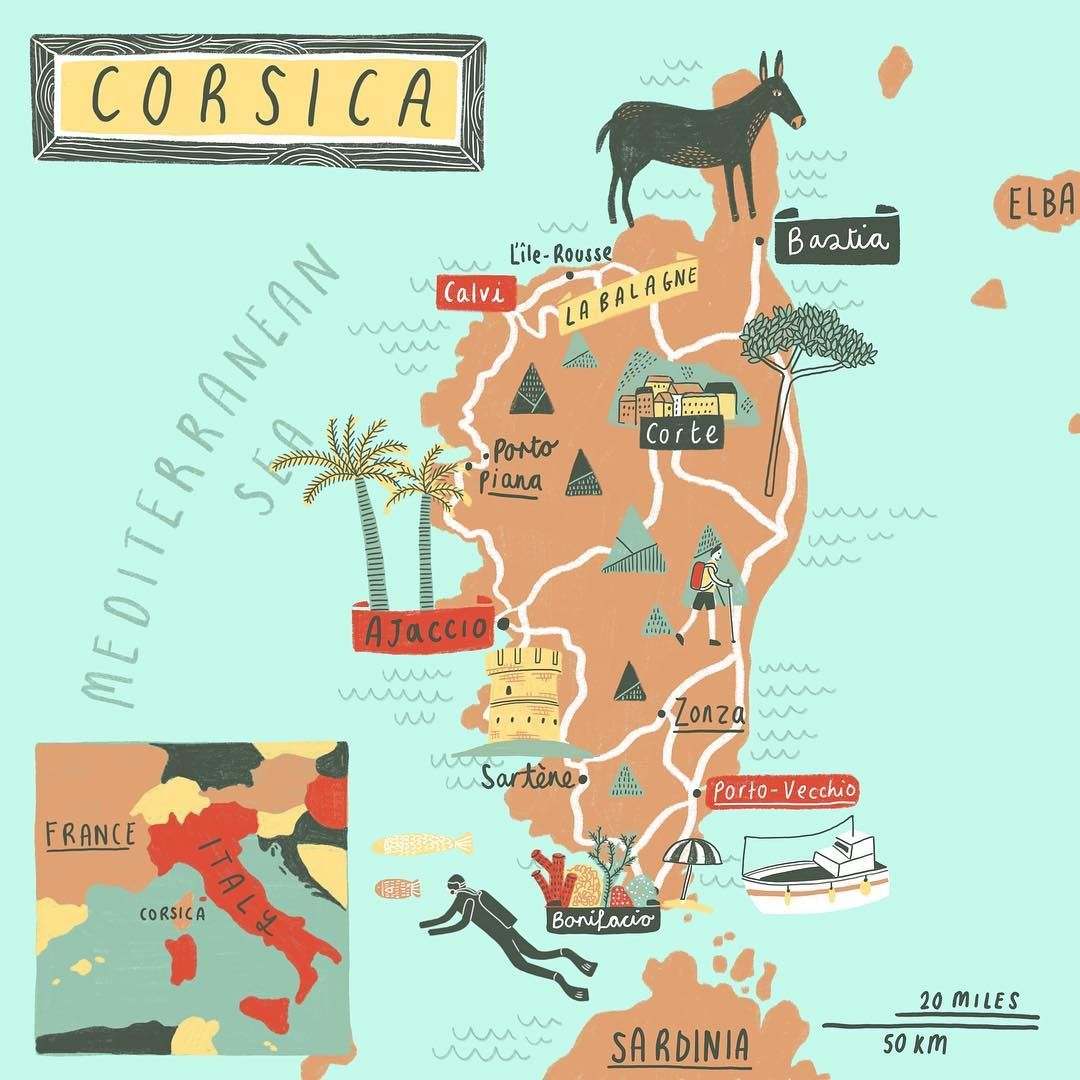 Corsica And The Gr 20 Trail Is Also On The List Illustratedmap Theydrawandtravel Corsica Illustrator Illustration Korsika Illustration Karten