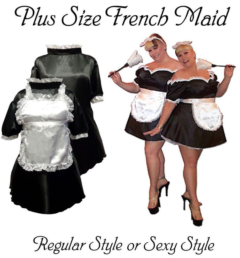 Plus Size Sexy Black Wht French Maid Costume Dress 1x 2x 3x 4x 5x