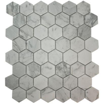 Bronte Hexagon White Marble Effect Mosaic Tile (L)321x(W ...