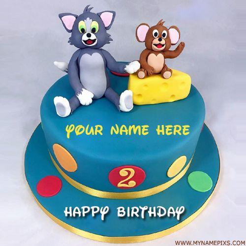 Write Name On Cute Tom And Jerry Kids Birthday Cake