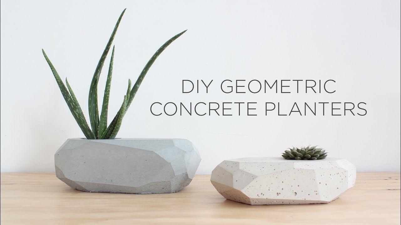 Diy Geometric Concrete Planters Youtube Future Ideas