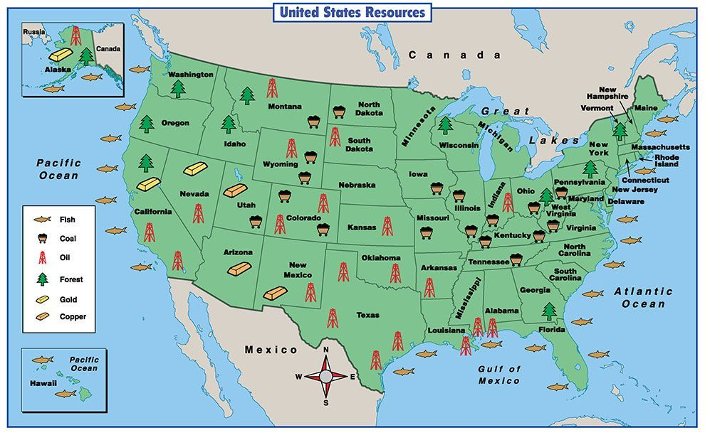 Natural Resources Of The Us Map Reading a Resource Map | Map activities, Social studies maps, Map