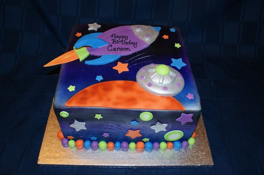 Enjoyable Space Theme Cake Birthday Cake Kids Outer Space Birthday Space Funny Birthday Cards Online Inifofree Goldxyz