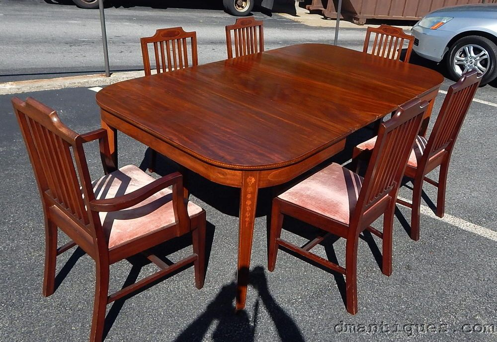 Antique 9pc Solid Mahogany Dining Room Set Bell Flower Inlay