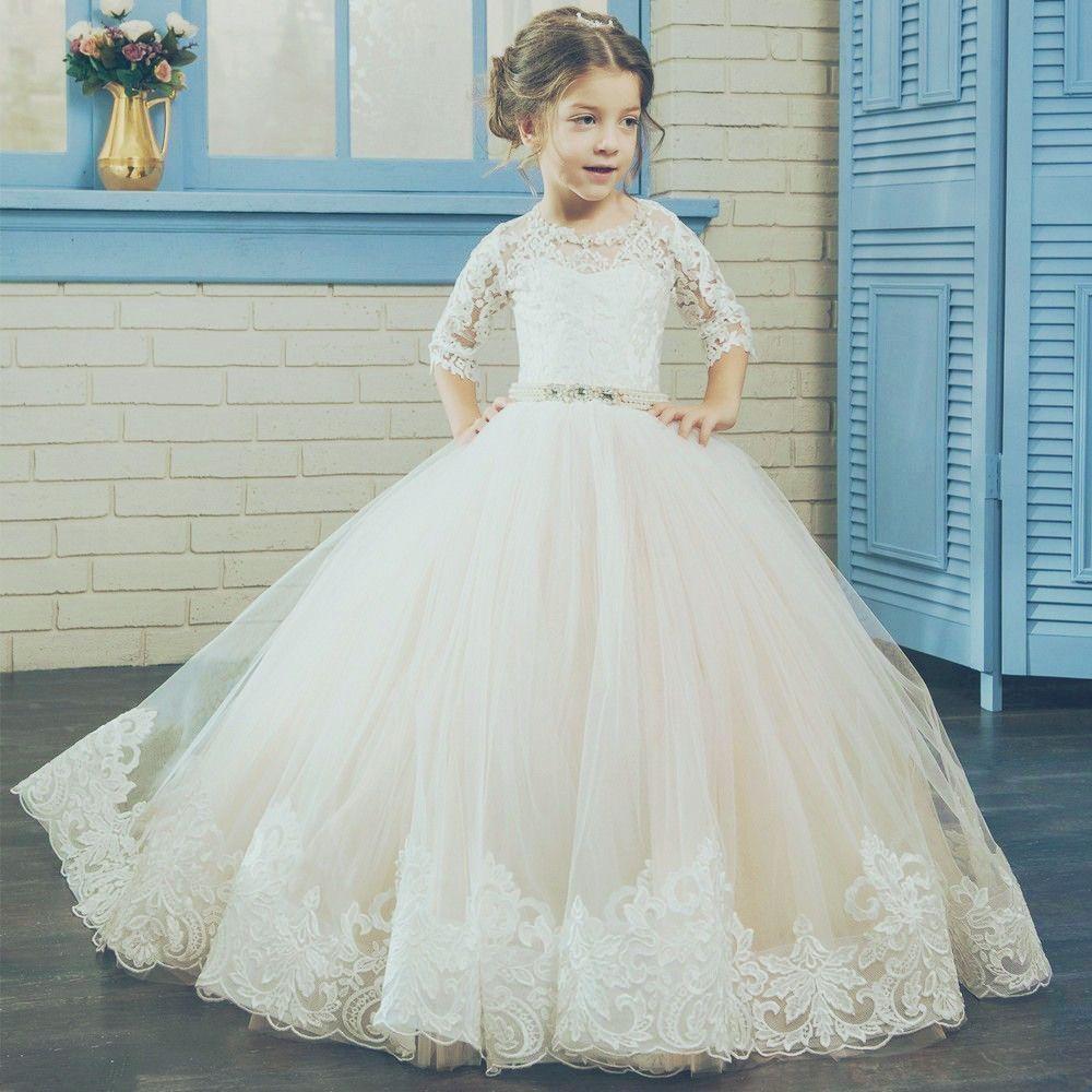 Short sleeve sash applique pageant flower girl dresses children