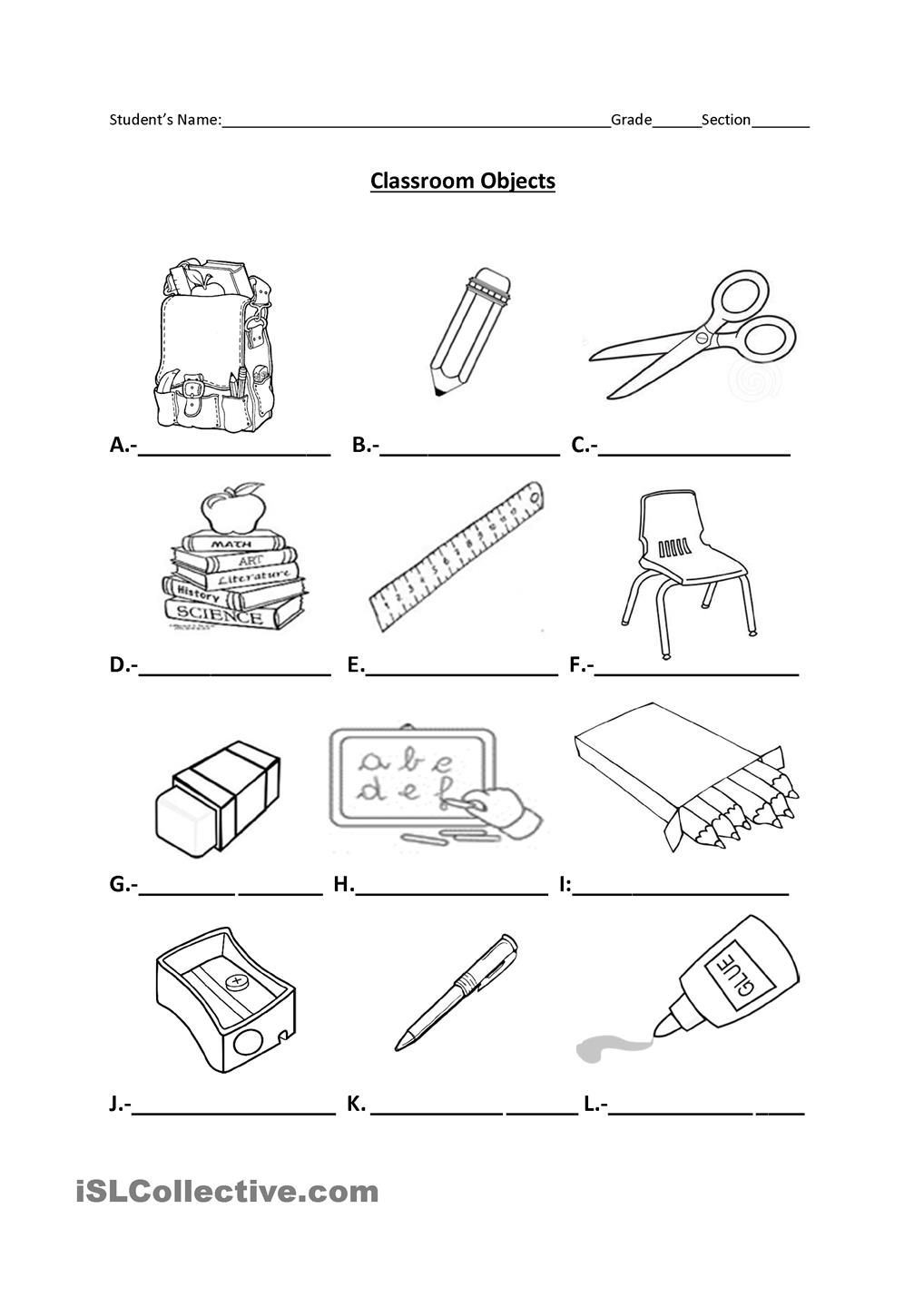 classroom objects espanol pinterest spanish worksheets and english words. Black Bedroom Furniture Sets. Home Design Ideas