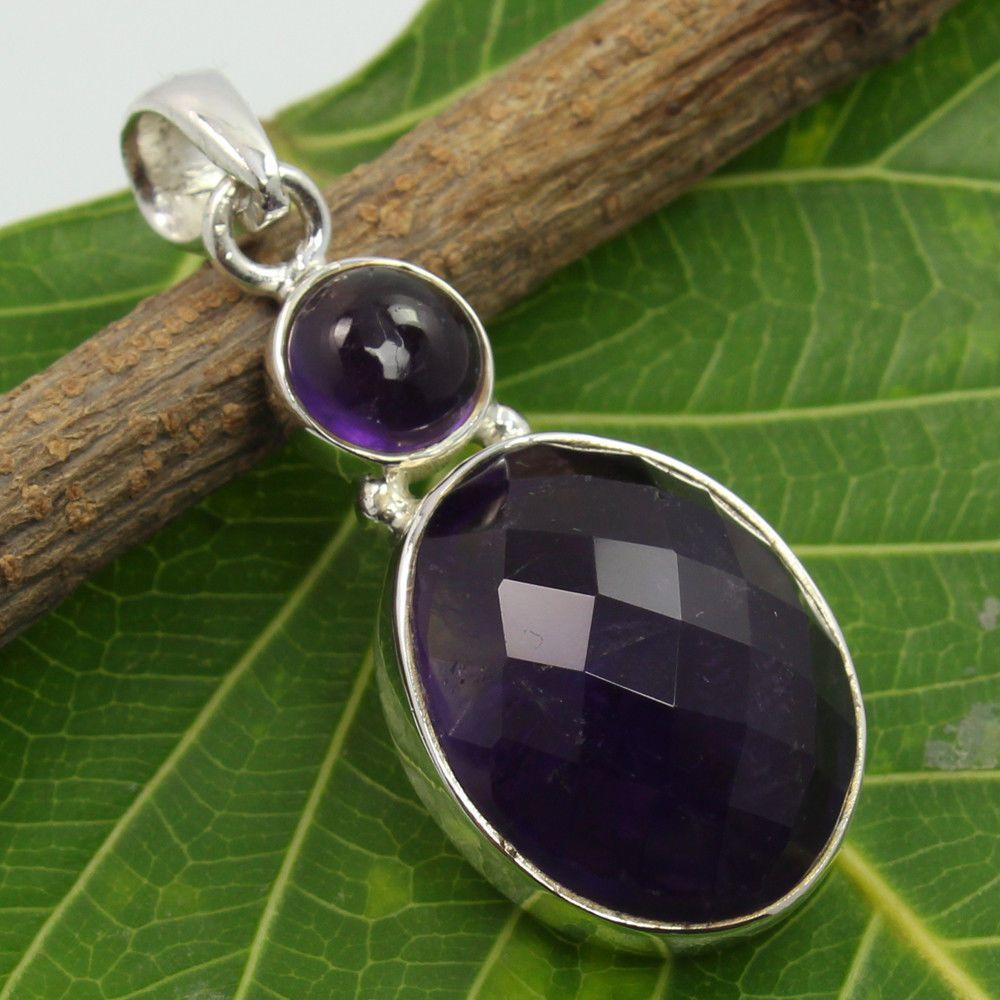 Natural Purple AMETHYST Gemstone Delicate Pendant 925 Sterling Silver Best Gift #SunriseJewellers #Pendant