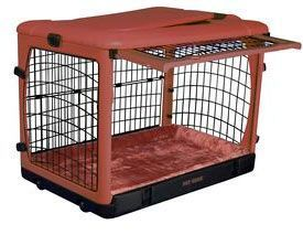 large pink dog crate