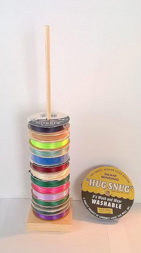 Ribbon Spool Holder Tall Tower Storage Organizer Holds 25 Spools