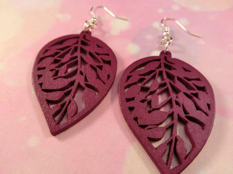 Holz Ohrringe Wood Natur rustikal Blatt leaf tree von Fusu Kreation - Allerlei fürs OHR auf DaWanda.com