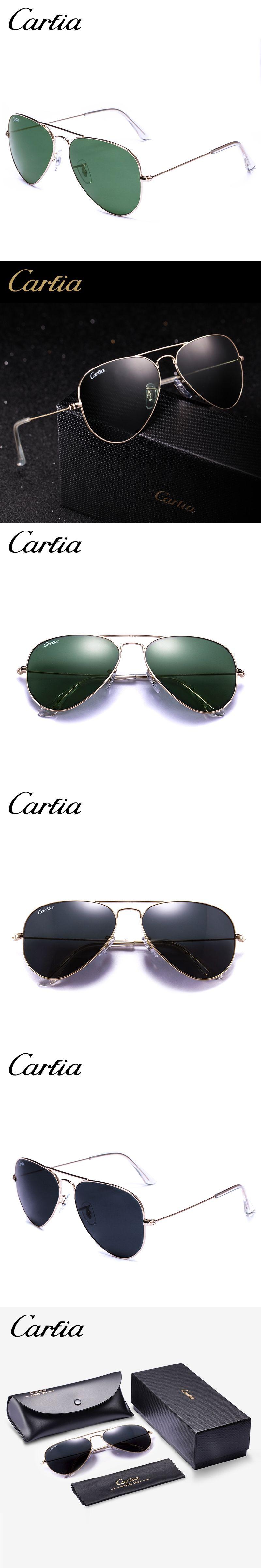 4d3a425237 Retro classical sunglasses CA 3025 pilot style gold frame green glass lens  58mm fashion carfia sunglasses