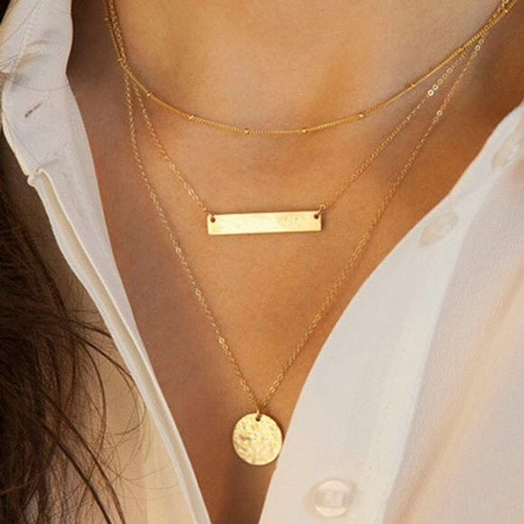 Gold multi layer necklace Gold 3 layer necklace Jewelry Necklaces