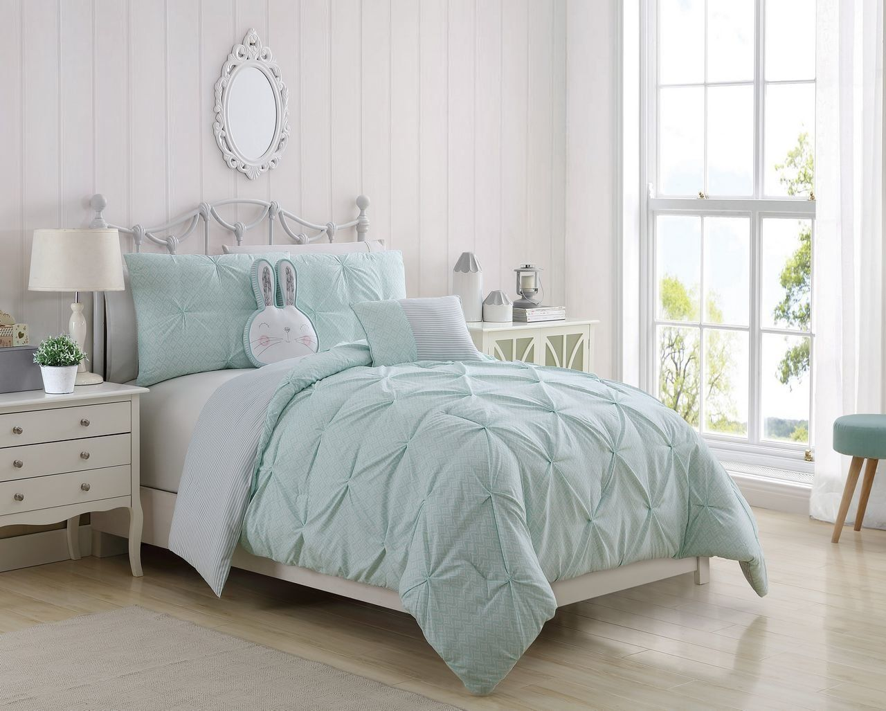 Monica Mint Gray Comforter Set With Images Teal Bedding Teal